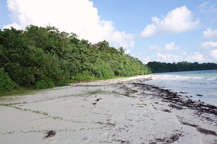 The stunning Merk Bay Beach on the Baratang island of Andaman