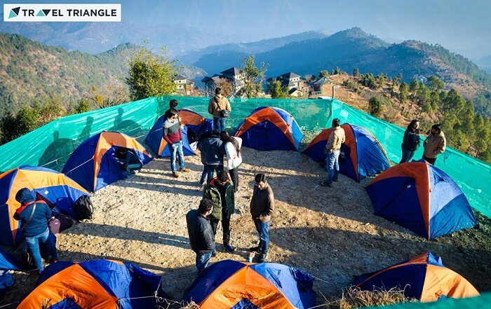 Campers outisde their camps in Kanatal