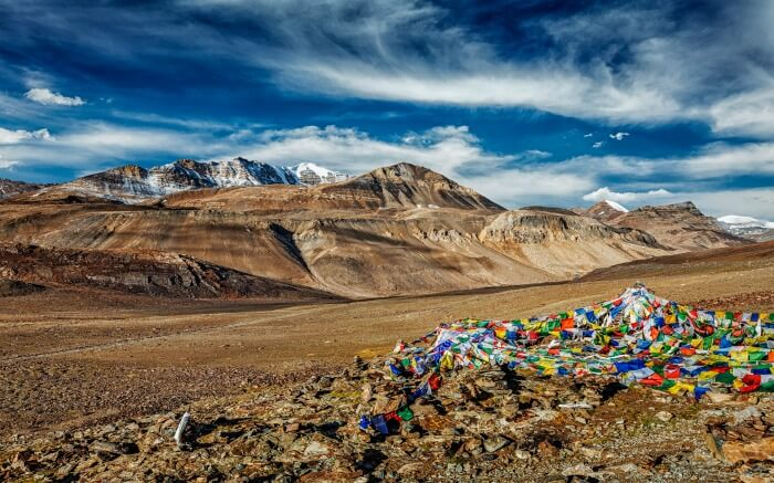 Prayer flags in Baralacha La in Spiti