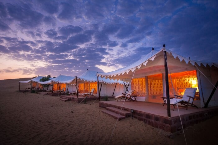 Dark clouds hovering above the camps at Desert Haveli Resort in the Thar desert