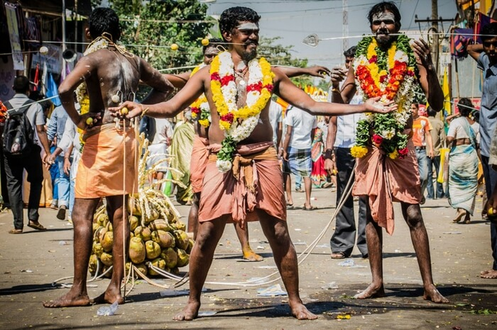 Devotees with pierced mouth during Thaipoosam festival in Tamil Nadu