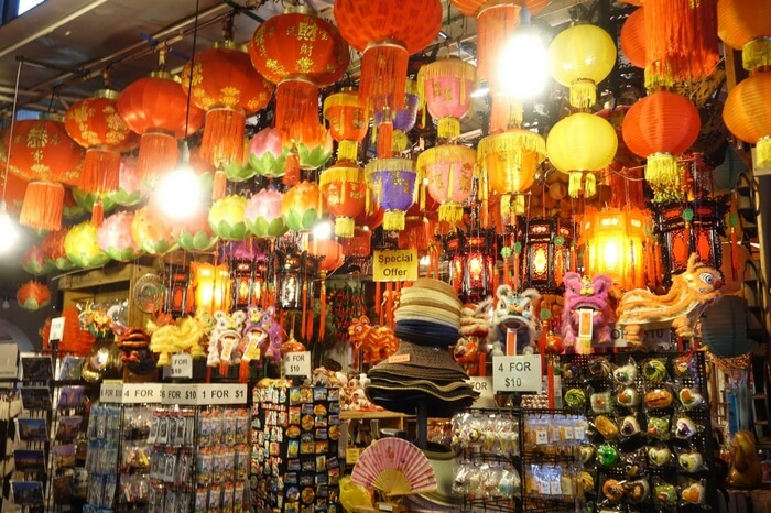 Chinatown street market in Singapore is best for night shopping