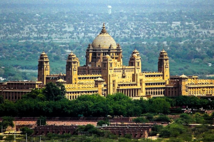 The splendid view of Umaid Bhawan Palace in Jodhpur