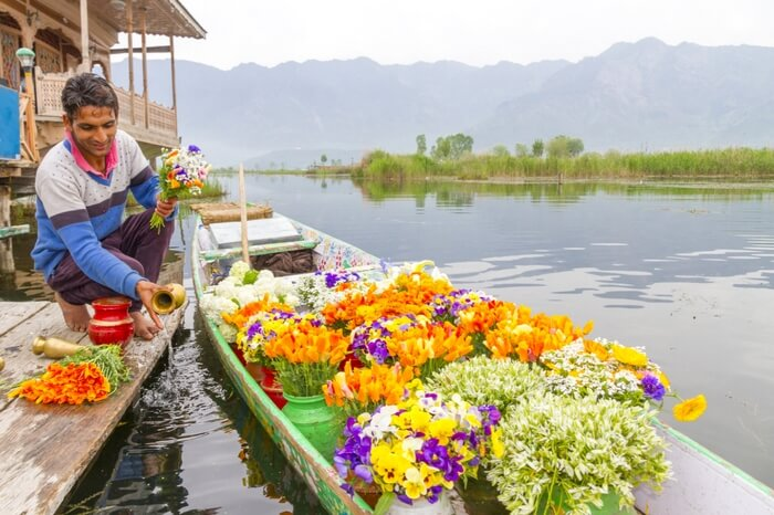 Flower being sold on a boat in Kashmir