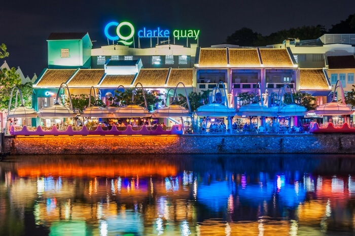 Clarke Quay by the waterside in Singapore