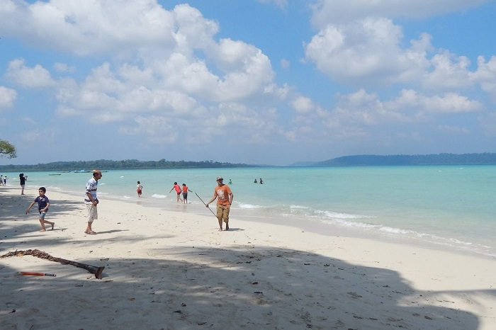 Tourists enjoying the popular Vijayanagar Beach on Havelock Island