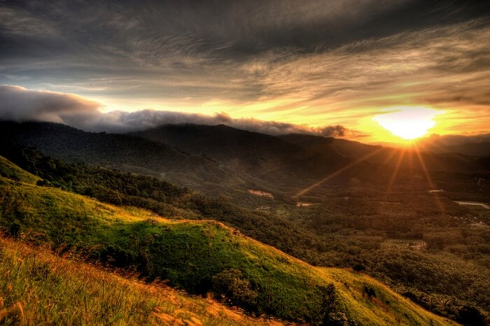 A beautiful sunrise view of the Broga Hill in Malaysia