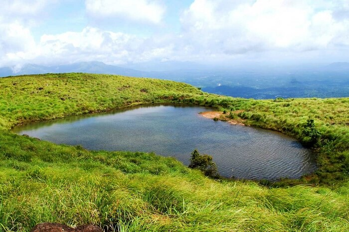 The heart-shaped Chembra lake in Wayanad
