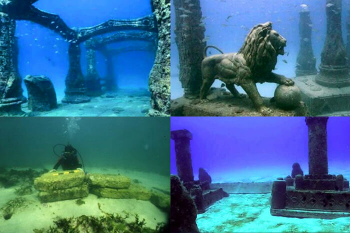A collage showing scenes from the submerged ancient city of Dwarka in Gujarat