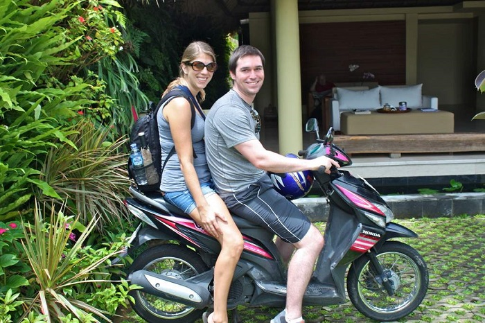 Tourists ready to explore the Havelock Island on a rented scpooty