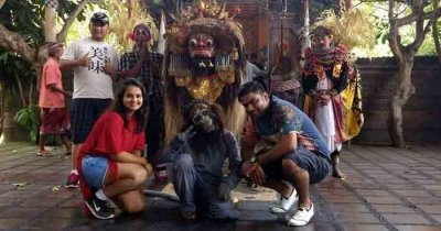 Ruchir and his wife posing for a photo during their honeymoon trip to Bali
