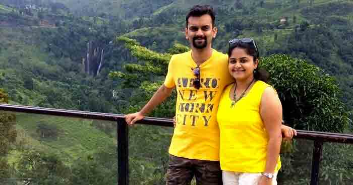Sandeep with his wife on a trip to Sri Lanka