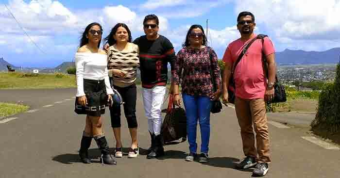 Sandeep with his family on a trip to Mauritius