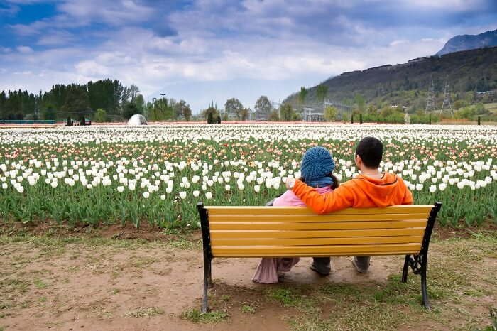 Young couple sitting relaxing in tulip garden of Kashmir