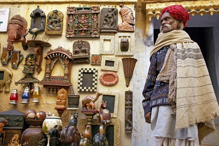 Unidentified seller on shopping street in the fort of Jaisalmer
