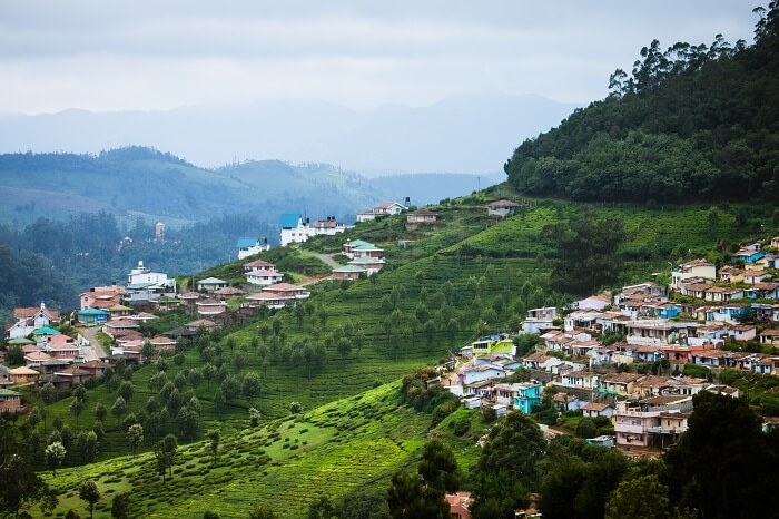 City scape on Nilgiri mountains at Udhagamandalam