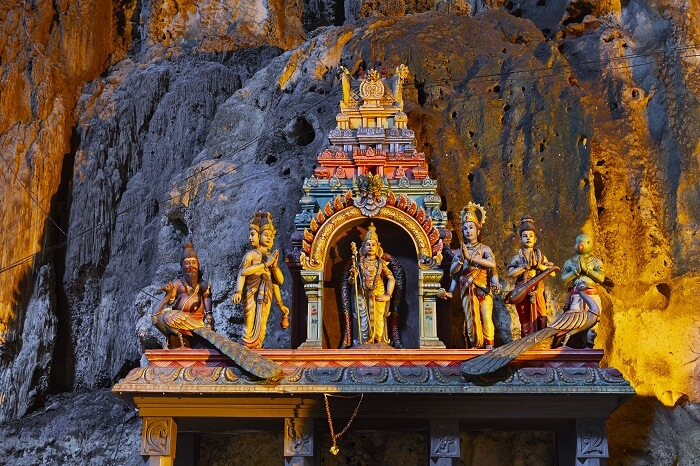 Temple in the middle of a cavern at Batu Caves Temple complex in Kuala Lumpur