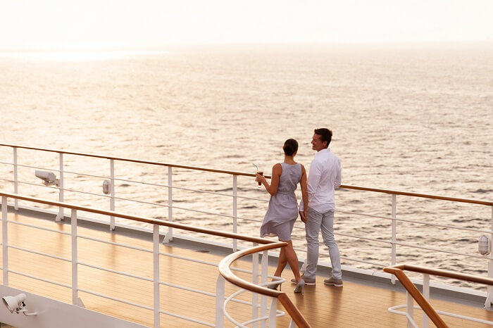 Couple cruising on a honeymoon