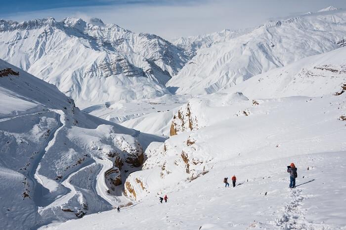 Trekkers on an adventurous winter trek in Spiti Valley/