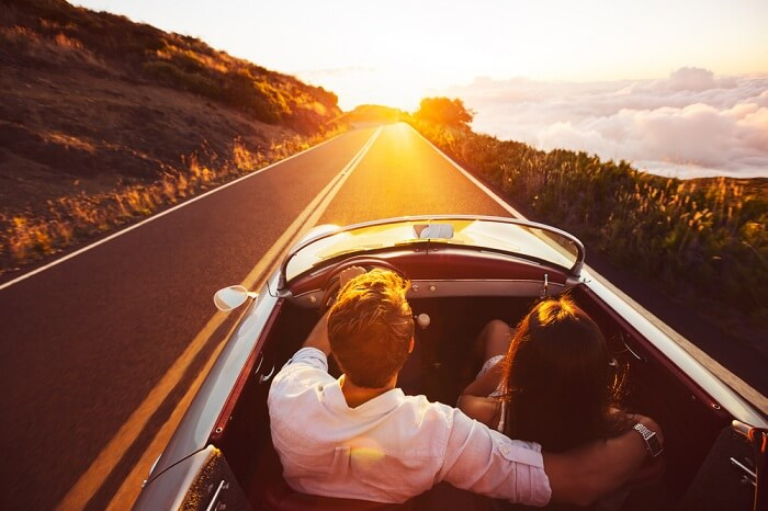 Couple on a romantic road trip