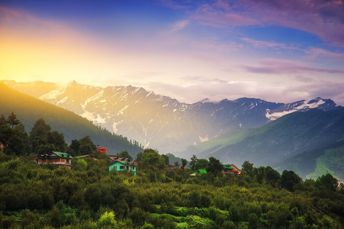 Sunrise landscape view in Manali
