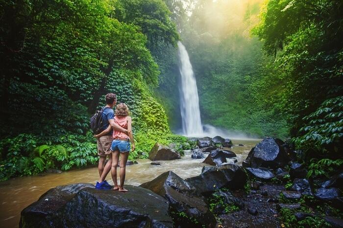 Couple admiring nature on honeymoon