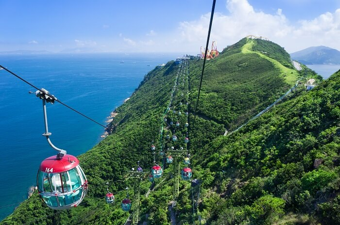 Cable car ride in Lantau Island