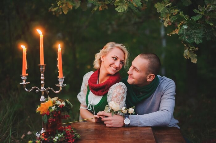 Romantic couple on a honeymoon date night
