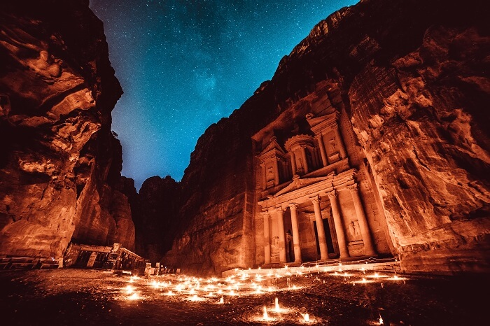 A night shot of the lost city of Petra in Jordon