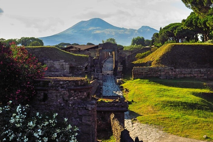 A snap of a beautiful sunset at Pompeii that is one of the ancient lost cities of the world