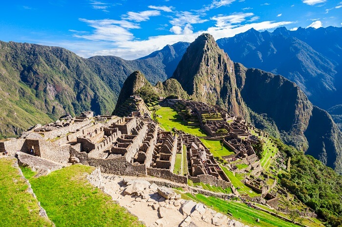 View of the Lost Incan City of Machu Picchu near Cusco in Peru