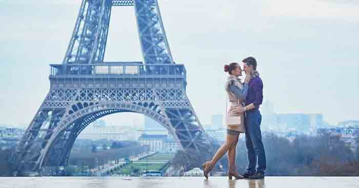Couple in front of Eiffel tower in Europe