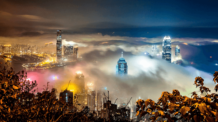 Hong Kong Skyline Covered With Mist