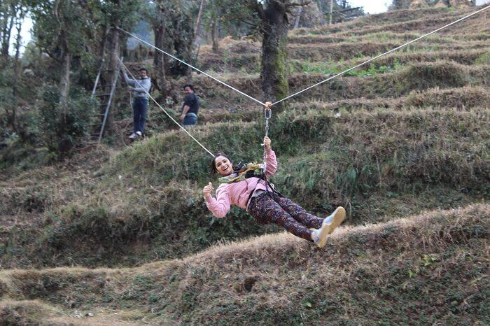 ziplining in dhanaulti