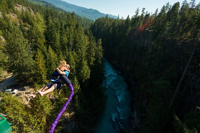 Couple bungee jumping in USA