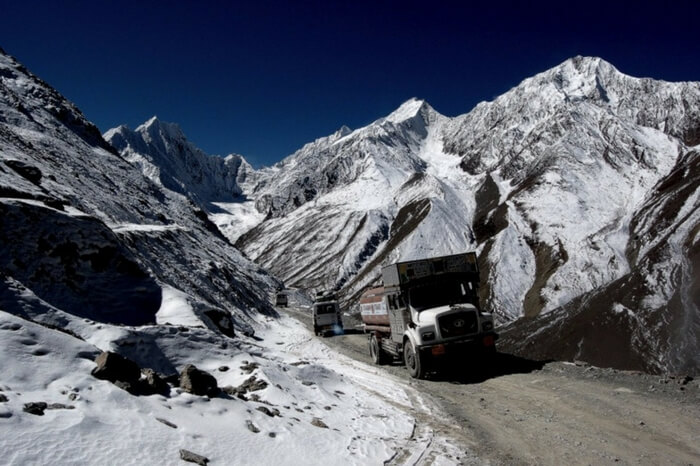 A truck crossing the Kunzum La Pass near Spiti