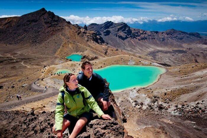 Couple hiking on honeymoon in Guatemala