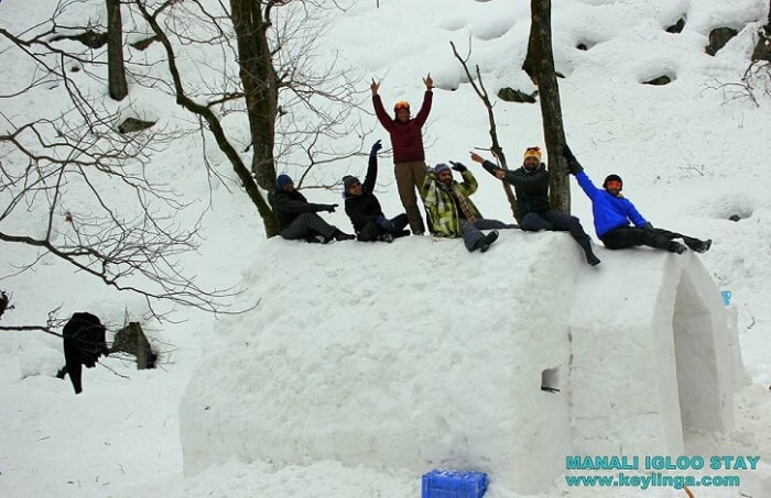 A large group sitting atop the unique igloo in Manali