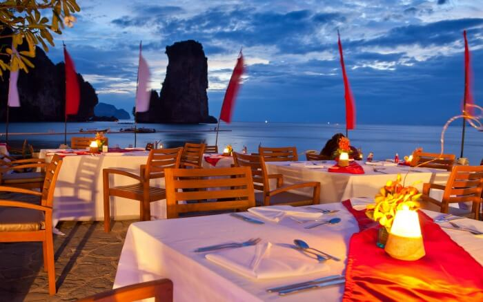 Dining setting on a beach in Thailand