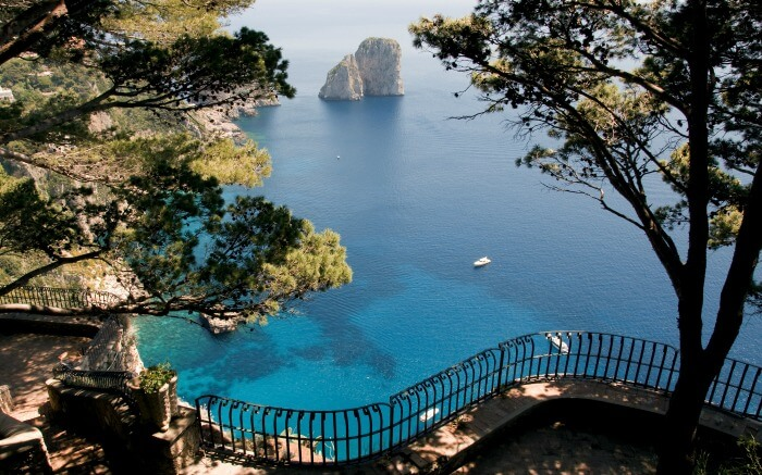 Blue waters in Capri Islands- one of romantic places to go in Italy