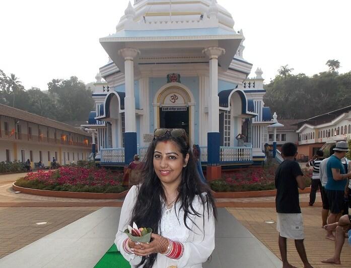 Female traveler in Goa temple