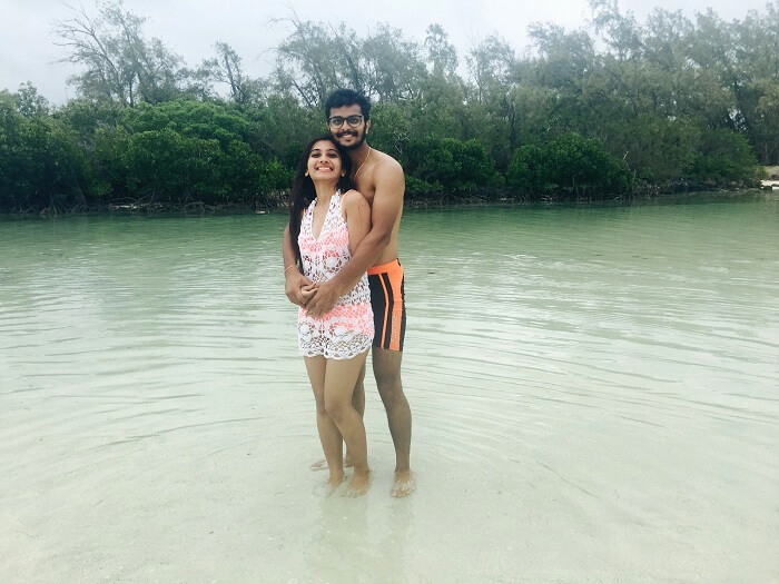Malay and his wife pose for a photo in mauritius