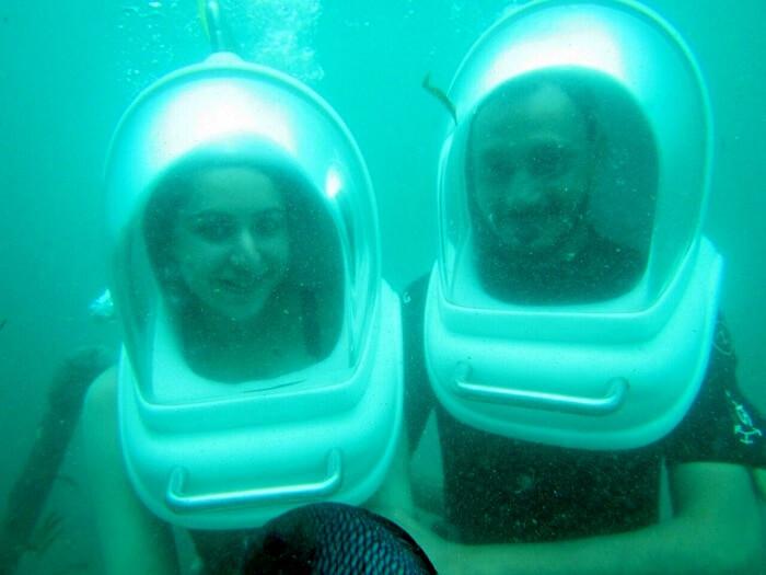 Sanchit and his wife do underwater ocean walk in Bali