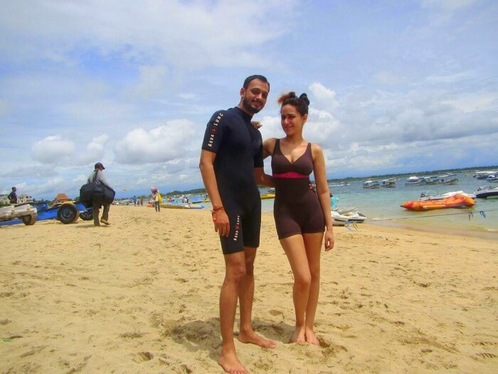 Sanchit and his wife go for watersports in Nusa Dua