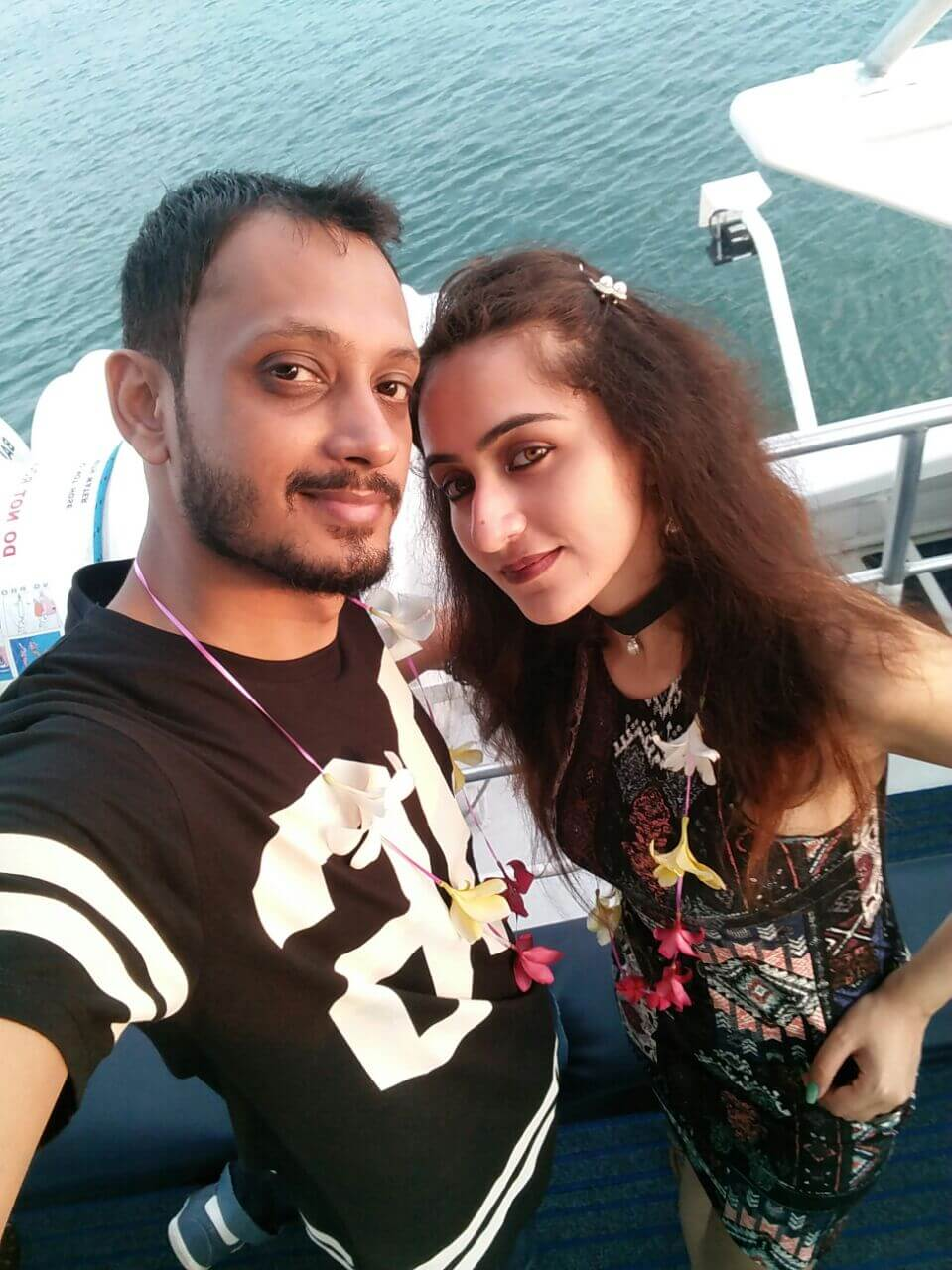 Sanchit and his wife click a selfie on the bali high sunset cruise