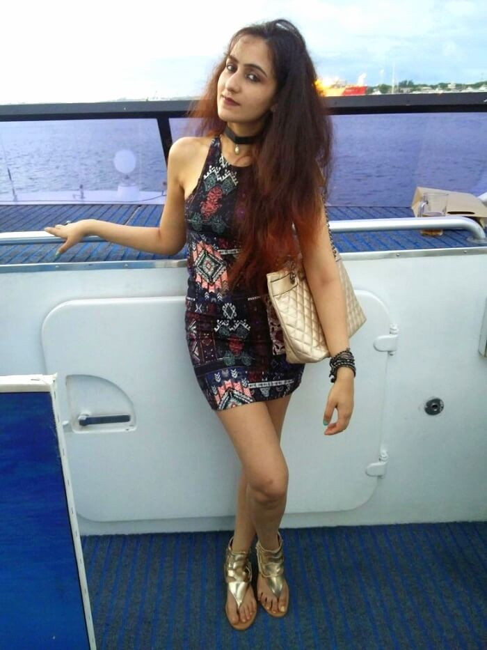 Sanchits wife on the Bali Hai Cruise
