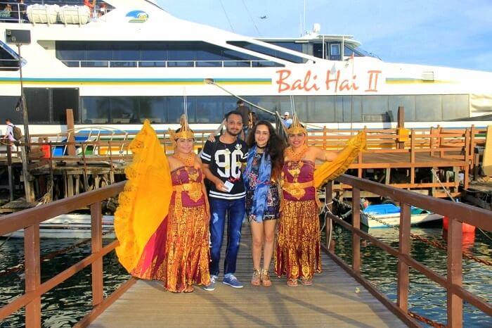 Sanchit at the dock to board the bali hai sunset cruise
