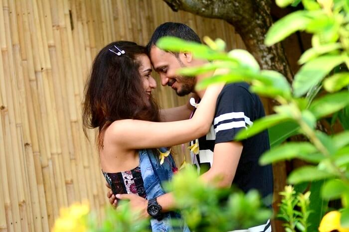 Sanchit and his wife pose for a photo in Bali