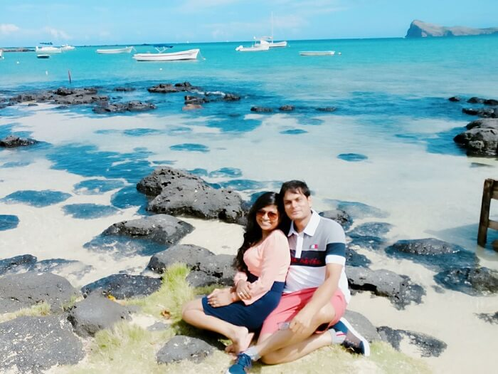 relaxing at the beach in Mauritius