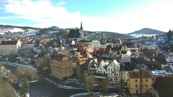 overlooking the city of Cesky Krumlov